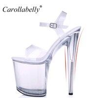 2014Fashion 15 CM Thin High Heels Women Crystal Pumps Sexy Transparent 5cm Platform Sandals Nightclub Party