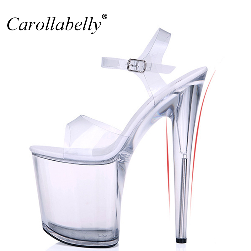 Extra High Heels crystal Shoes Women Pumps sexy transparent 12/13/15/17/20cm High Heel sandals Platform nightclub shoes Big Size sexy high heels shoes multicolor nightclub 20cm high with thin catwalk show with waterproof sandals size 35 44