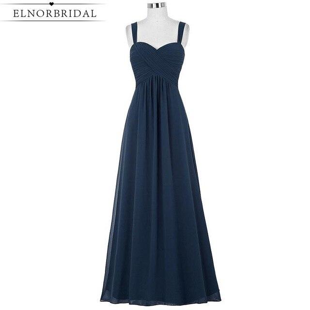 Cheap Navy Bridesmaid Dresses Long 2017 Robe Longue A Line Chiffon ...