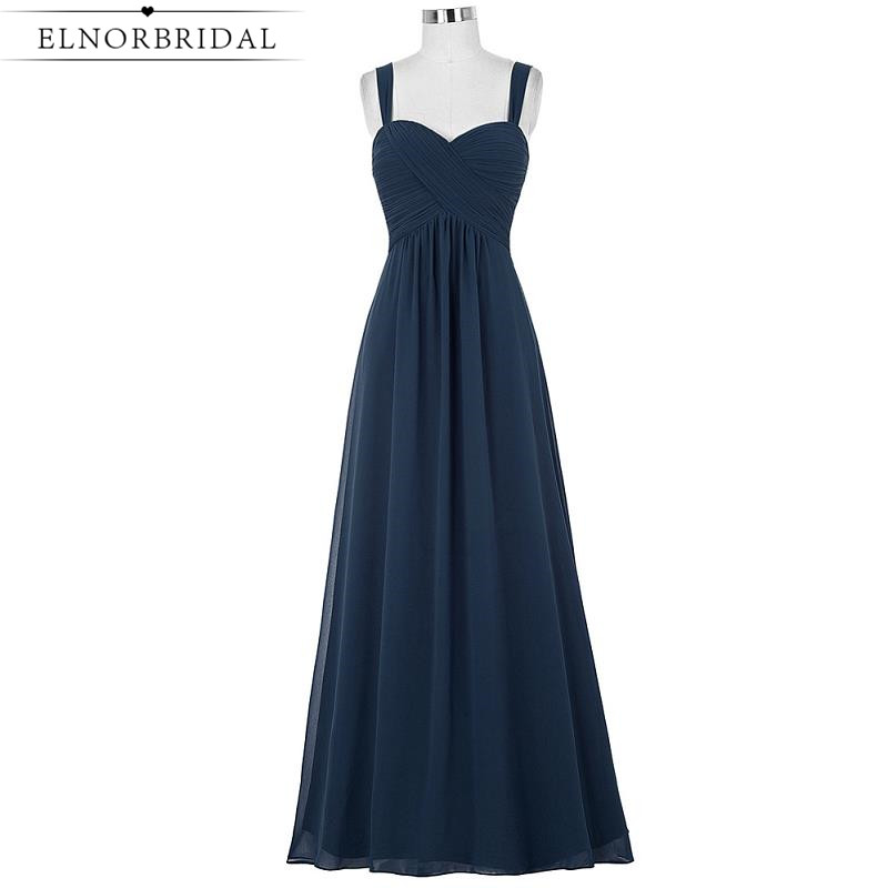 Cheap Navy   Bridesmaid     Dresses   Long 2019 Robe Longue A Line Chiffon Wedding Guest   Dress   Formal Maid Of Honor Gowns
