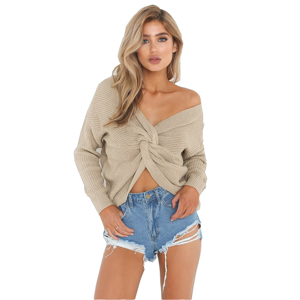 Sexy Women sweater 2018 new foreign trade explosion models Europe United States V-neck knotted back sweater long-sleeve F80