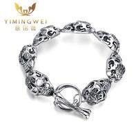YMW Men S Punk Rock Skull Bracelet 316L Stainless Steel Men S Jewelry Bracelets Bangles