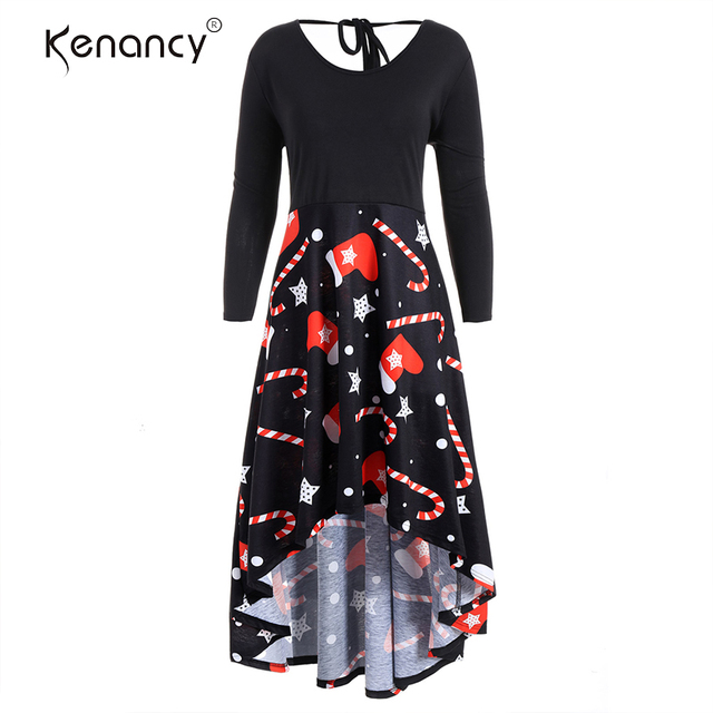 1e2d1f2fed2 Kenancy 5XL Plus Size Christmas Print High Low Dress Full Sleeves Empire  O-Neck Winter Casual New Year Christmas Party Dresses