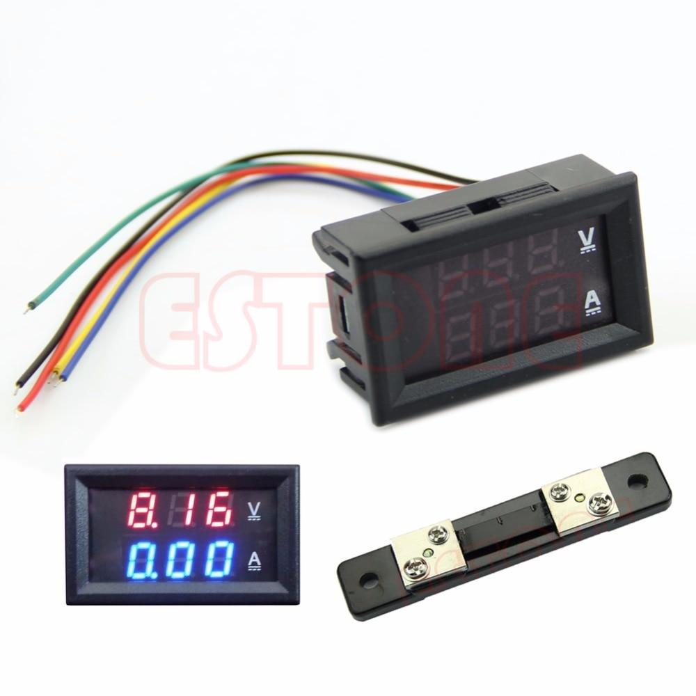 LED Digital Voltmeter Ammeter Amp Volt Meter + Current Shunt DC 100V 50A Dual peacefair dc 6 5 100v 50a 4 in1 digital lcd voltage current power energy voltmeter ammeter panel meter 50a shunt