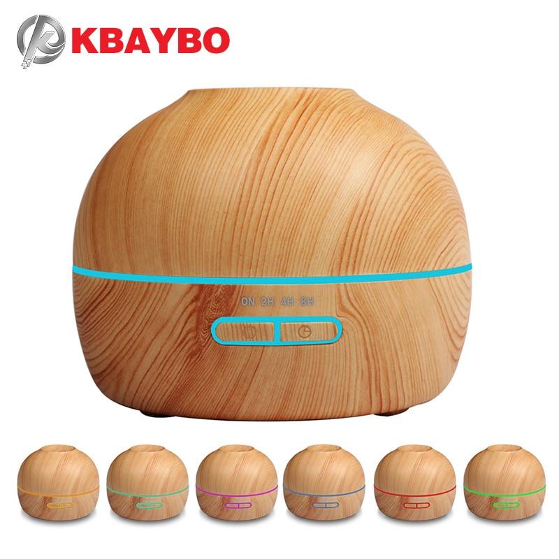 Aroma difusor de aceite esencial ultrasonido humidificador de vapor frío grano de madera con 7 Color LED aromaterapia Mist Maker para el hogar