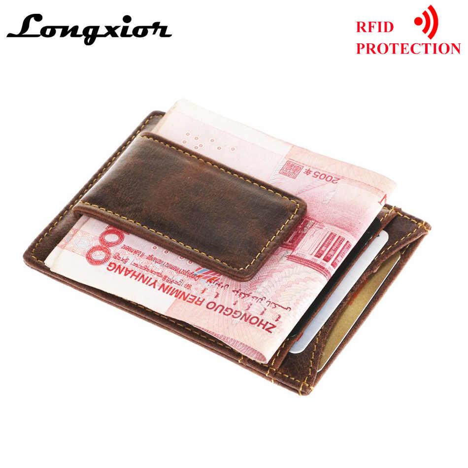 Portatarjetas de negocios, protección de bloqueo RFID, portatarjetas de identificación, portatarjetas de cuero genuino para hombre, Clip magnético, tarjetas de crédito, billeteras MRF4
