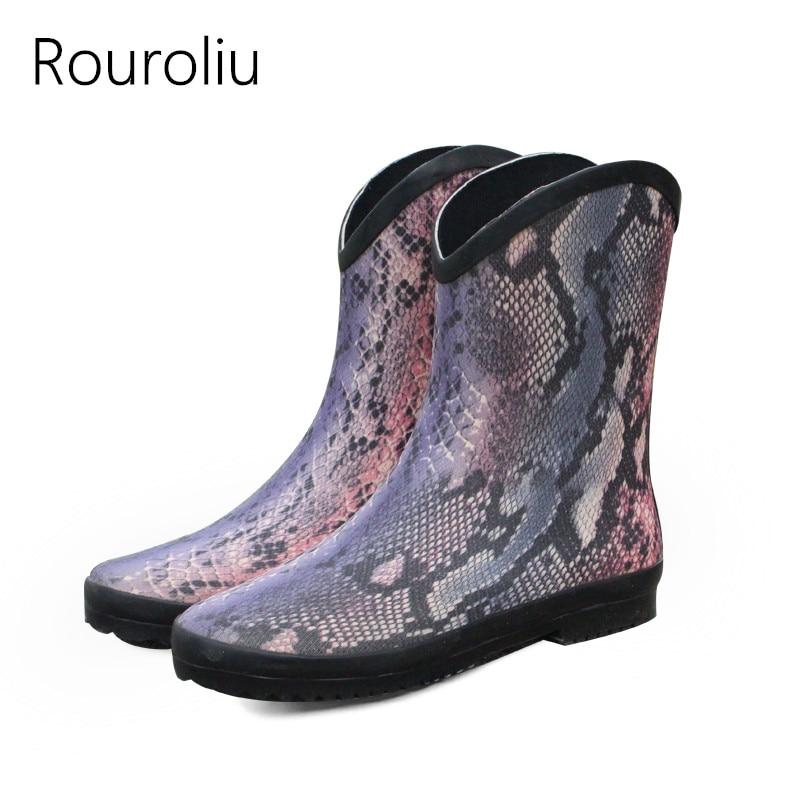 Rouroliu Women Non-Slip Waterproof Rubber Boots Female Autumn Slip-on Water Shoes Ankle Rainboots Woman Wellies RB7 hxrzyz women rubber boots autumn classic ankle rain boots female fashion comfortable non slip waterproof low heeled women shoes