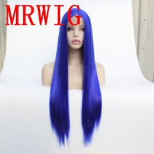 MRWIG Long Straight Blue Hair Wig Cosplay Synthetic Glueless Front Lace Middle Part Combs &Straps for Woman