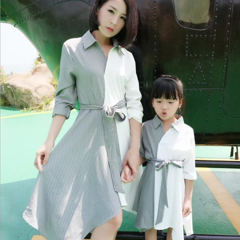 2018 Mommy and me family matching mother daughter dresses clothes Stitching mom and daughter dresses kids parent child outfits L mommy and me mother daughter dresses apple fruit autumn winter long sleeve mom and daughter dress family matching outfits coat