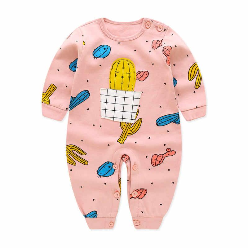 Детский комбинезон; сезон весна-лето; Плотные хлопковые пижамы с длинными рукавами для малышей; Одежда для новорожденных девочек и мальчиков с принтом героев мультфильмов; комбинезон; DS19