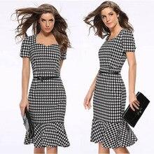 цена на YOUNG VIVA Women Dresses Short Sleeved Square Collar Lattice Pattern Belt Bodycon Dress l040