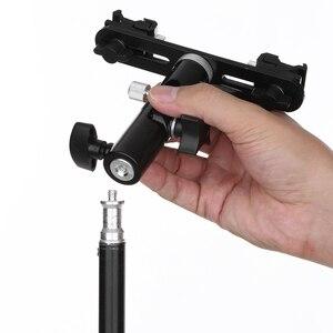 Image 4 - Черный поворотный держатель для камеры с двойной вспышкой и зонтиком, подставка под горячий башмак, кронштейн для штатива с двойной вспышкой 1/4 дюйма 3/8 дюйма