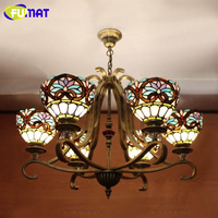 FUMAT Kronleuchter Farbe Kronleuchter Lichter Europäischen Vintage Glas LED Licht Lustre Hängen Lampe für Bar Wohnzimmer Restaurant