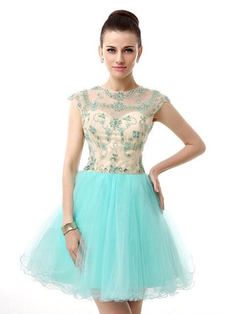 b282f7d64 Luz azul brillante turquesa corto Junior de baile Vestido de fiesta 8 grado  baile de graduación