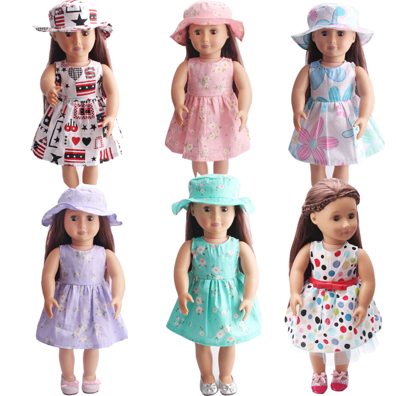 Doll dress for 45 cm girl doll 18 inch doll flower dress with sun hat and strap <font><b>belt</b></font> image
