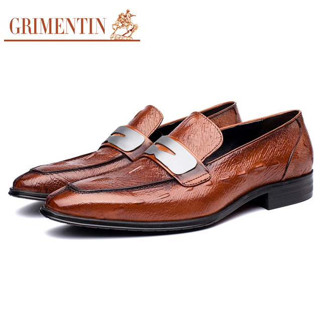 GRIMENTIN fashion mens shoes casual genuine leather black brown wedding  male shoes 2017 66a4663c0726