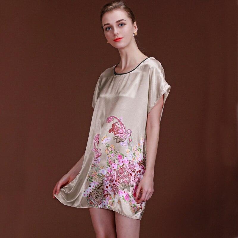 Hot Sell Women Summer Nightgown Floral Print Female Satin Silk Nightwear Ladies Sexy Sleepwear Night Dress Pijama Pyjamas