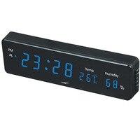 Дома цифровой светодиодный висит часы с термометром и гигрометром плагин LED настенные часы электронный будильник свет дисплей