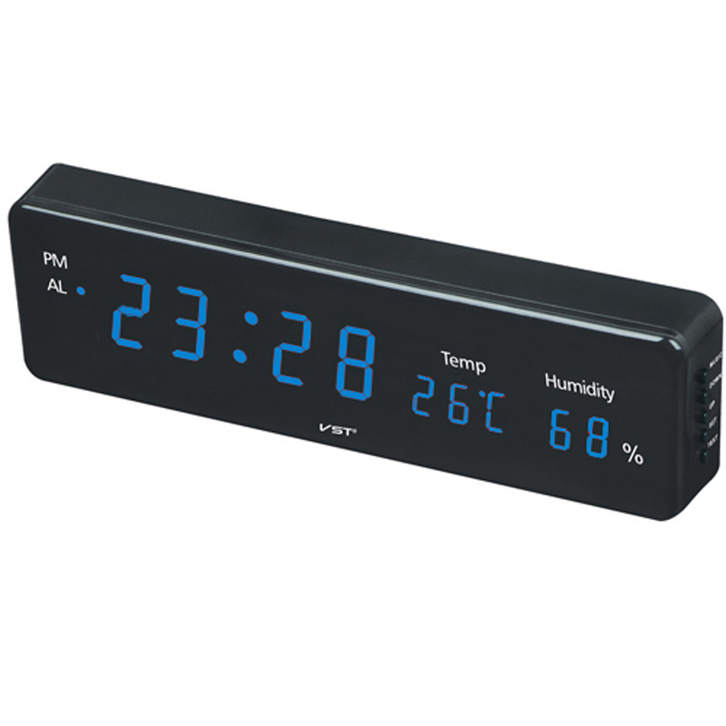 Home Digital LED Hanging <font><b>Clock</b></font> With thermometer and hygrometer Plug-in LED wall <font><b>clock</b></font> Electronic alarm <font><b>clock</b></font> led light display