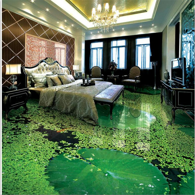 Ambitious Beibehang Custom Flooring 3d Photo Decorative Paintings Chinese Style Lotus Bathroom Living Room 3d Flooring Papel De Parede