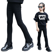New Kids Children Winter Velvet Warm Flare Pants For Teens Teenagers Girls Clothing Student Lace Tassels Patchwork Trousers 45