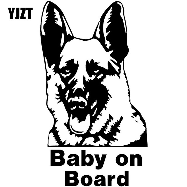 Yjzt 11 7cm20cm German Shepherd Baby On Board Warning Cartoon Vinyl