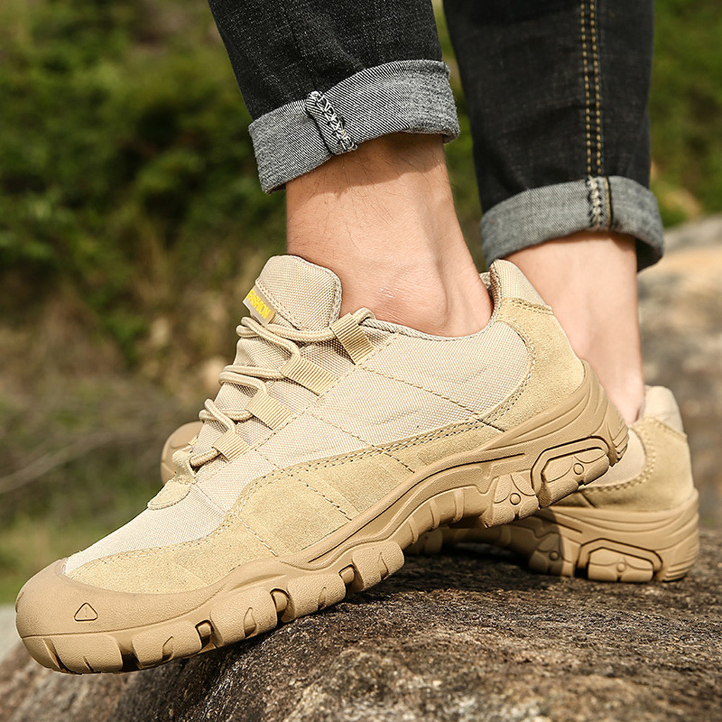 Tactical Boot Sneakers Hiking-Shoes Trekking Breathable Waterproof Non-Slip Rubber Men