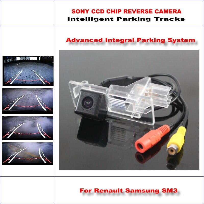ФОТО Intelligent Parking Tracks Car Rear Camera For Renault Samsung SM3 / Megane 3 Backup Reverse / NTSC RCA AUX HD SONY 580 TV Lines