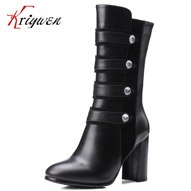 100%Full grain leather Eur Women fashion boots rock style thick high heels mid-calf Boots zipper female party work lady Shoes