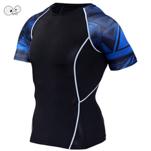 Mens Quick Dry Compression Fitness Running Tights Shirts Short Sleeve Workout Gym Sports Yoga Clothing Breathable Top Tees S-4XL
