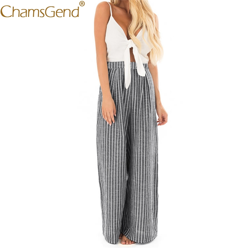 Chamsgend Jumpsuit Women Sexy V Neck Bowknot Camis Striped Wide-Leg Trousers Rompers Female OL Clothing 80330