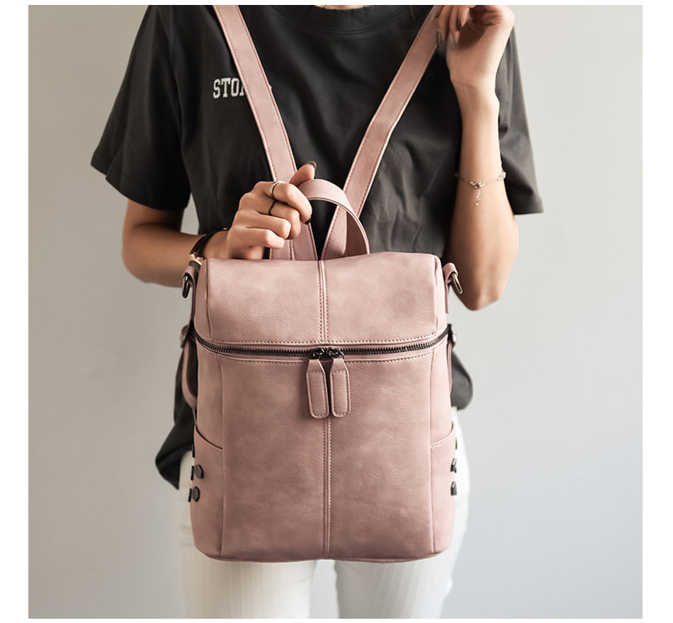 Simple Style Backpack Women PU Leather Backpacks For Teenage Girls School Bags Fashion Vintage Solid Shoulder Bag Black simple preppy style backpack women pu leather backpacks for teenage girls school bags fashion vintage solid shoulder bag black