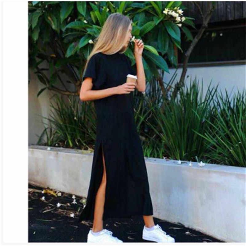 Летняя женская летняя пляжная Повседневная Рабочая Сексуальная Бохо элегантная винтажная повязка облегающее Черное длинное платье большого размера макси
