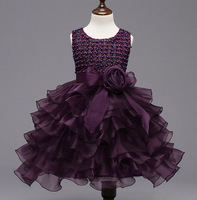 Formal Girls Flowers Wedding Event Dress Shining Manual Nail Bead Organza Layered Dresses Purple Ball Gown
