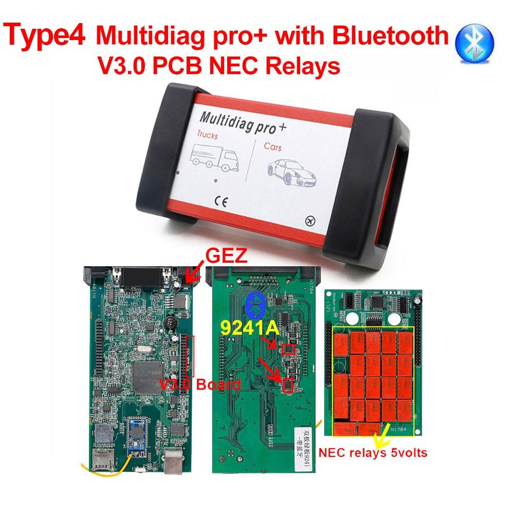 CDP TCS V3.0 плата OBD2 автомобильный Грузовик tcs cdp tcs pro монитор реле Bluetooth obd ii сканер,00 keygen автоматический диагностический инструмент - Цвет: Multidiag pro BT