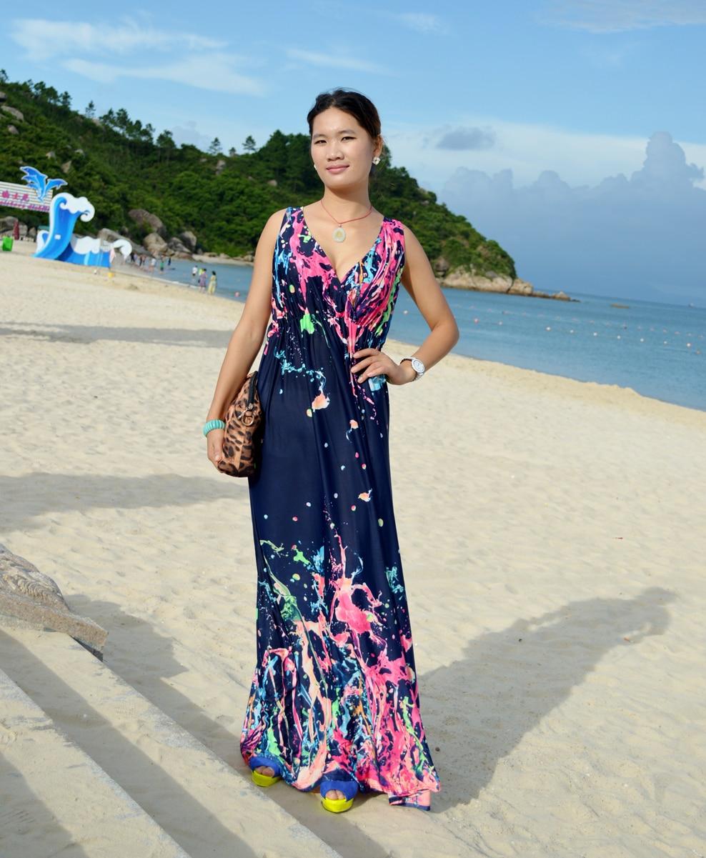 US $17.99 10% OFF|Women Summer Dress Printed Bohemian Beach Dress Plus Size  6XL V Neck Sleeveless Long Maxi Dress Robe Femme Vestido Longo-in Dresses  ...
