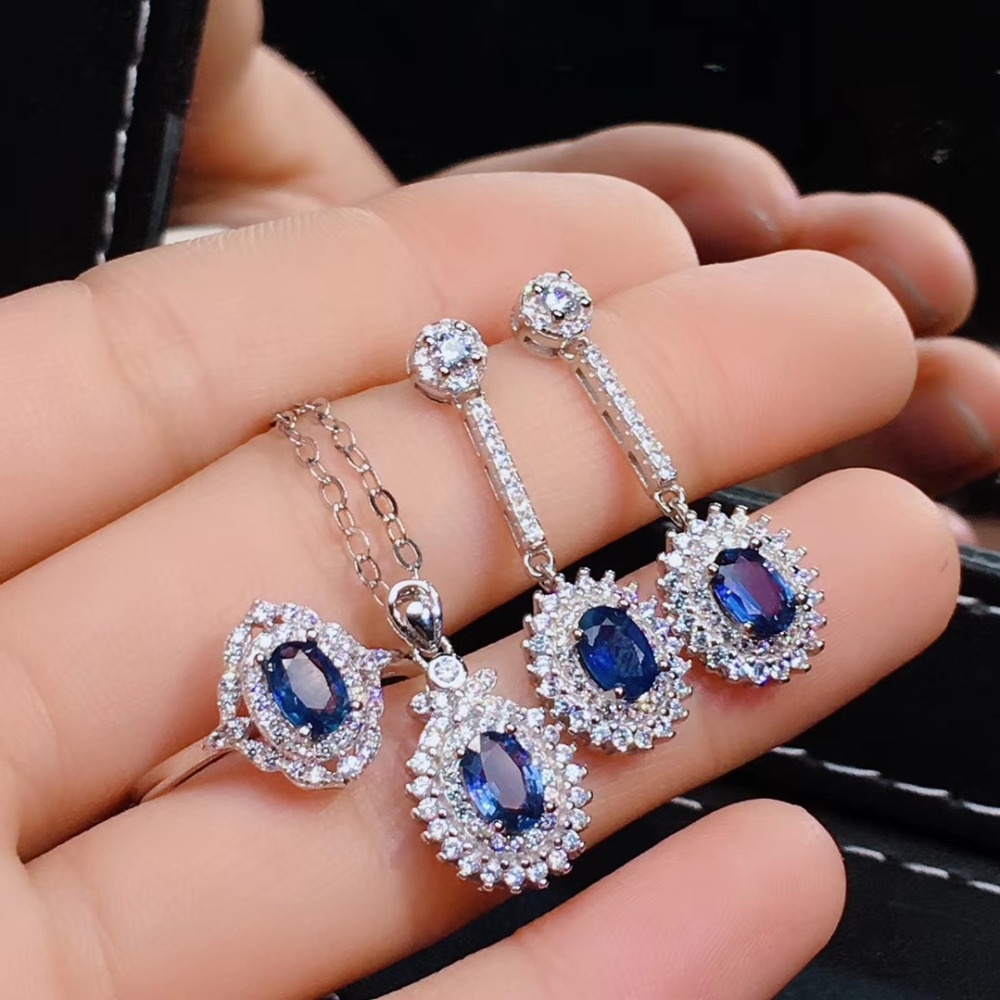 Natural blue sapphire gem jewelry sets natural gemstone pendant ring earrings 925 silver fashion Diana women fine party jewelryNatural blue sapphire gem jewelry sets natural gemstone pendant ring earrings 925 silver fashion Diana women fine party jewelry