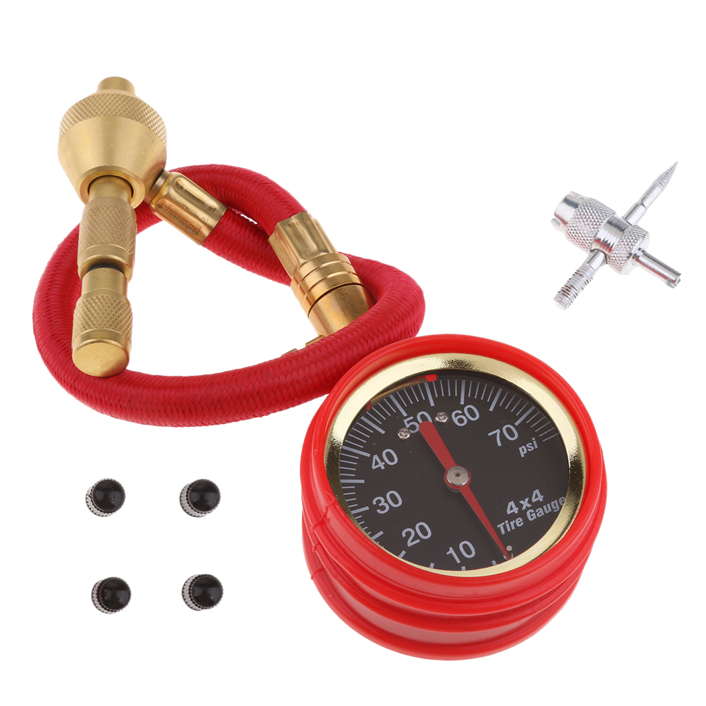 Adjustable Automatic Mechanical Pointer Tire Pressure Gauge Tyre Tire Deflators Kit With 4 Valve Cap For Automobile Cars Trucks