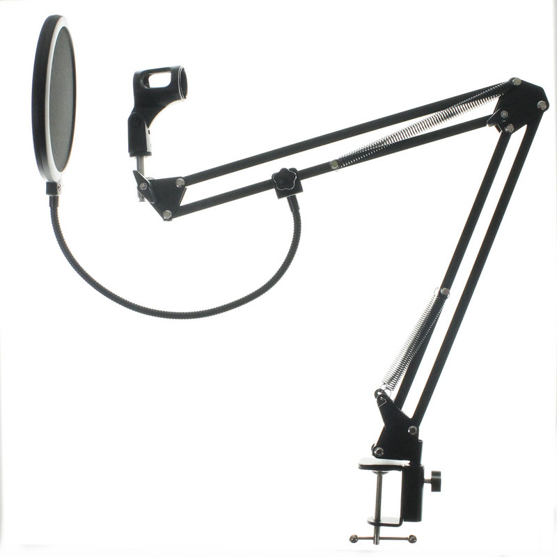 NB-35 Microphone Suspension Boom Scissor Arm Stand with Mic Clip Holder Pop Filter Windscreen Mask Shield with Stand Clip Kit nb 37 extendable recording microphone suspension boom scissor arm stand holder with microphone clip table mounting clamp cannon audio cable
