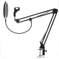 NB 35 Microphone Suspension Boom Scissor Arm Stand with Mic Clip Holder Pop Filter Windscreen Mask Shield with Stand Clip Kit