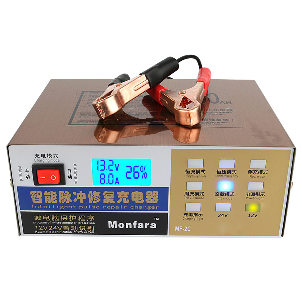 Smart Battery Charger Intelligent Pulse Repair Type Maintainer 110V/220V Full Automatic Electric Led Display 12V/24V 100AH