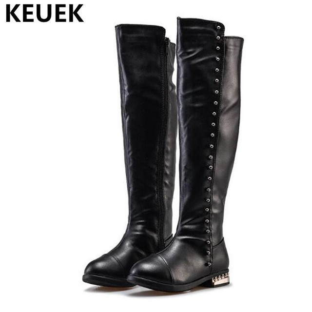 3c563179898 2018 New Girls Boots Children Princess Knee-High Boots Kids Shoes Warm  Plush Fashion Rivet Snow Boots Baby Student PU Leather 04