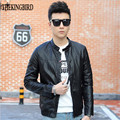Black Men leather Jacket 2016 New Hot Selling Korean Style Male casual Jackets Men's Autumn Thin Jacket Slim zipper Coat 3XL