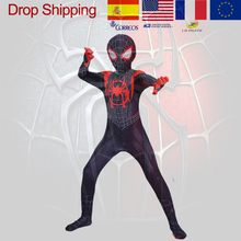 Black Spider Man Costumes Myles Parallel Universe New Age Hero Suit Adults Children Kid Spider-Man Cosplay Costume Clothing