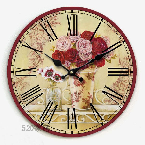 34cm Fashion oversize circular wooden wall watch vintage Europe style clock with rose flower painting wall art for home decor