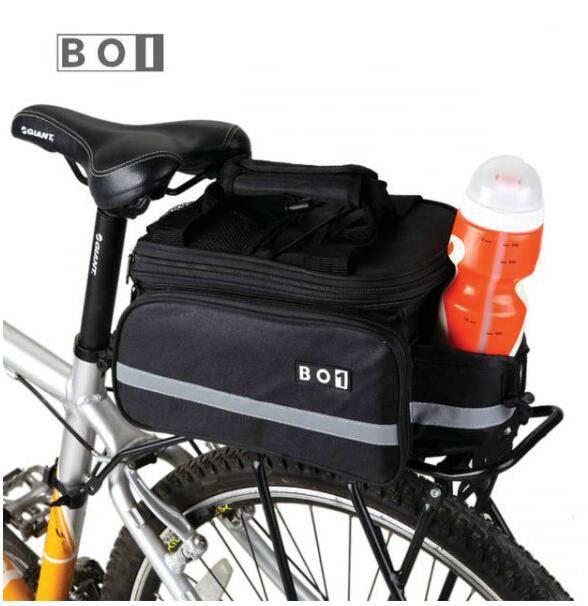 ROSWHEEL Bicycle Bags 13L Cycling Bike Pannier Rear <font><b>Seat</b></font> Bag Rack Trunk Shoulder Handbag Black With <font><b>Rain</b></font> Cover