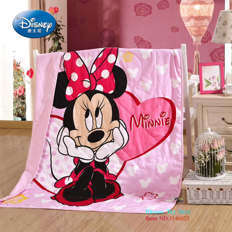 все цены на Disney Cartoon Pink Princes Mickey Mouse Soft Flannel Blanket Throw For Girls Child 120X150CM On Bed Sofa Couch Kids Gift Baby