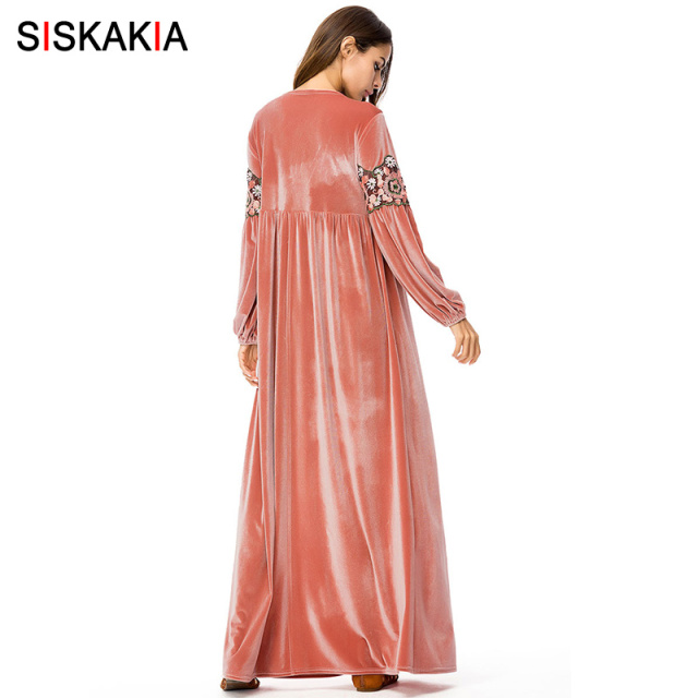 Siskakia Velvet long Dress Pink Embroidered Maxi Dresses Urban Casual Vintage Embroidery A line Dress Muslim Casual Ramadan Eid