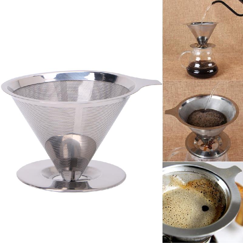 Stainless Steel Mesh Coffee Filter Paperless Pour Over Cone Dripper Reusable durable quality dual layer solid stainless steel coffee filter dripper refillable holder handle