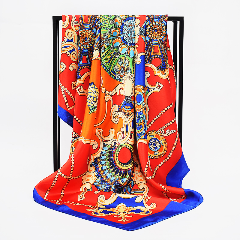 Women Hijab Silk Scarf Luxury Fashion Retro Chain Print Ladies Foulard 90*90cm Large Satin Square Scarves Beach Cape Headscarf